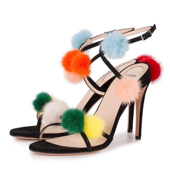 8cacfb145 Fendi Shoes | Pompom Heels | Poshmark